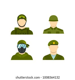 Military avatar icon set. Flat set of military avatar vector icons for web design isolated on white background