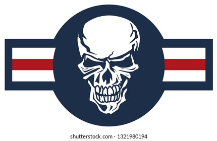 Military aviation airplane national roundel with skull, a very cool spin on a classic style aircraft logo, red white and blue isolated vector illustration