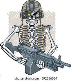 military background with skelton wearing helmet, machine gun and night vision