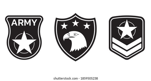 Military badge, army patch and insignia set. Airforce emblem with eagle and stars. Vector illustration.