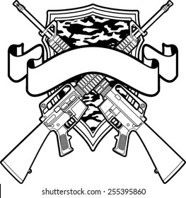 military badge with crossing assault rifles