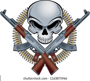 military badge with skull assault rifles and ammunition belt