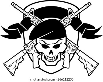 military badge with skull wearing beret  and crossed assault rifles