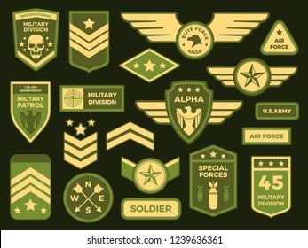 Military badges. American army badge patch or airborne squadron chevron. Badging, military air force medals emblem. Insignia vector isolated symbols illustration collection