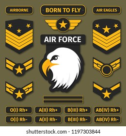 Military badges and army patches. Chevrons, stickers and embroidery in military style for t-shirt graphic. Vector