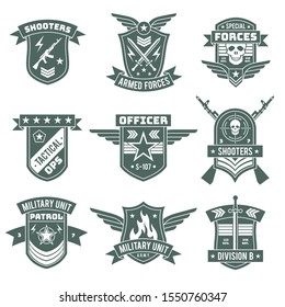 Military badges. Army patches, embroidery chevron with ribbon and star, gun and skull. Vintage soldier clothing tag, t-shirt vector militaries stickers design
