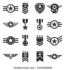 Military Badges Icons. Black Scribble Design. Vector Illustration.