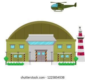 Military base camp flat design illustration