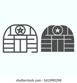 Military base line glyph icon. Army building vector illustration isolated on white. Airbase outline style design, designed for web and app. Eps 10