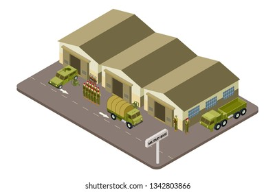 Military base with soldiers and military cars isometric vector concept