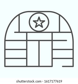 Military base thin line icon. Army building vector illustration isolated on white. Airbase outline style design, designed for web and app. Eps 10