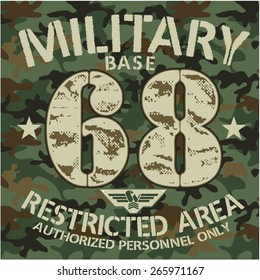 MILITARY BASE - Vector Graphics and typography t-shirt design for apparel. War Varsity