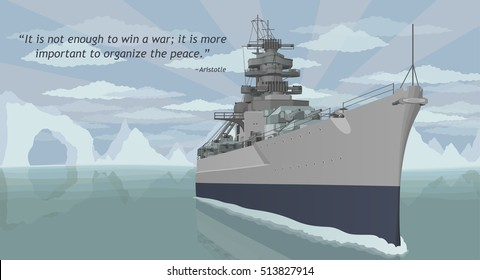 Military battleship vector illustration with quote about war.