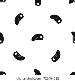 Military beret pattern repeat seamless in black color for any design. Vector geometric illustration