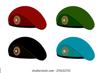Military berets in the vector on a white background.Military berets of different types of troops.