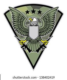 military bird mascot grab a pair of rifle