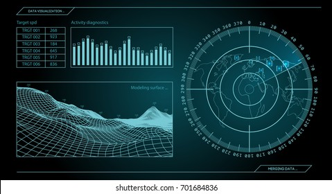 Military blue radar. Screen with target. Futuristic HUD interface. Stock vector illustration.