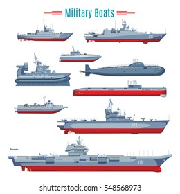 Military boats collection with different types of naval combat ships frigates and submarine isolated vector illustration