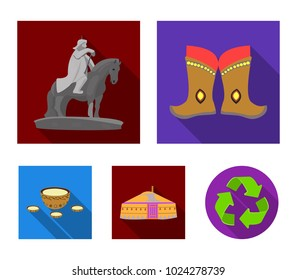 Military boots, a monument to the rider, a national tent, a milk drink. Mongolia set collection icons in flat style vector symbol stock illustration web.