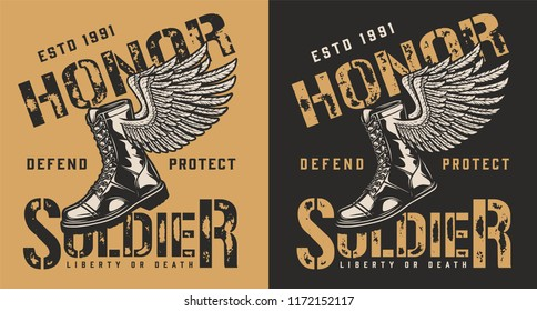 Military brand emblem with boot and wing. Vector illustration