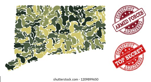 Military camouflage combination of map of Connecticut State and red scratched seal stamps. Vector top secret and armed forces watermarks with scratched rubber texture.