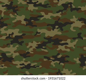 Military camouflage pattern woodland, hunting background, vector graphics