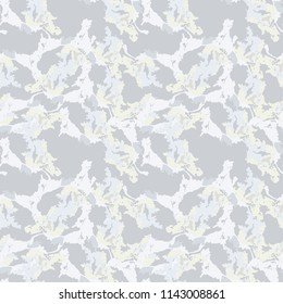 Military camouflage seamless pattern in beige or light yellow and different shades of grey color. Seamless repeat UFO camouflage pattern, usable as winter camoflauge urban print, background etc