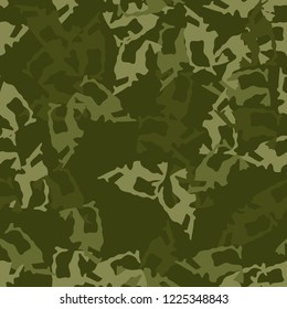 Military camouflage seamless pattern in different shades of green color. Forest camo repeat background. Usable as summer camoflauge textile print for paintball or strikeball, backdrop etc.