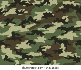Military camouflage seamless pattern. Four colors. Woodland style