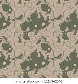 Military camouflage seamless pattern in green, beige and brown colors. Octagonal grid camo repeat background. Usable as camoflauge textile print, backdrop, wallpaper etc.