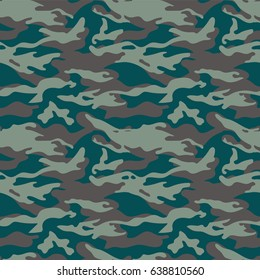 Military camouflage seamless pattern. Three colors. Woodland style. For web and print.