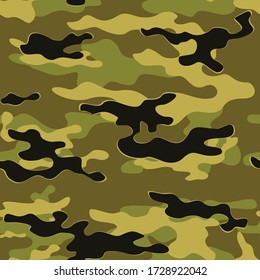Military camouflage seamless textile pattern. Vector background