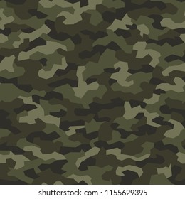 Military camouflage texture geometric seamless pattern. Abstract digital modern endless background. Vector illustration.