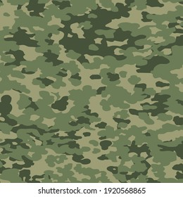 Military camouflage texture khaki print background - Vector illustration