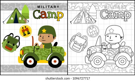 Military camp, little soldier on military car with soldier equipment, coloring page or book, vector cartoon illustration