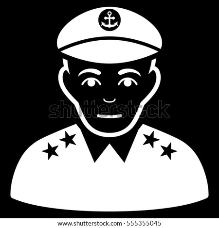 Military Captain Vector Icon Flat White Stock Vector Royalty Free