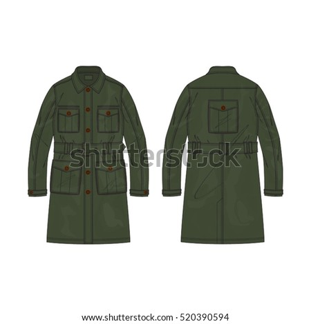 military cargo coat template stock vector royalty free 520390594