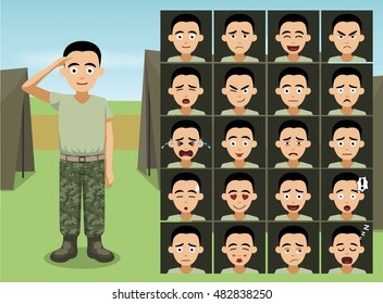 Military Casual Wear Soldier Cartoon Emotion faces