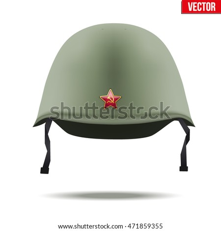 f3118cee251 Military classic helmet of russian and soviet union infantry with red star.  Vector Illustration Isolated