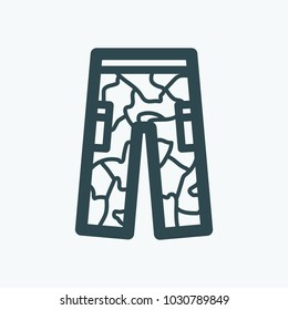 Military clothes. Khaki uniform vector icon