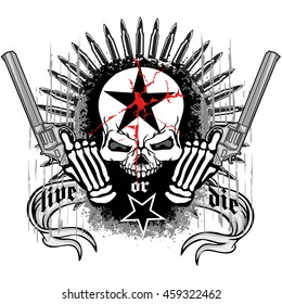 military coat of arms with skull, grunge. design t-shirts