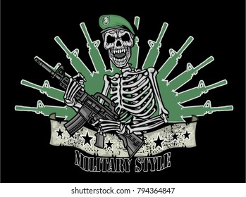military coat of arms with skull, grunge vintage design t shirts