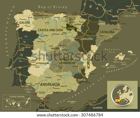 Map Of Spain To Color.Military Color Map Spain Highways Railroads Stock Vector Royalty