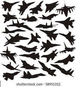 military combat airplane silhouettes set