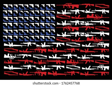 military concept  assault and sniper rifles, pistal, shot gun shape of american flag vector illustration