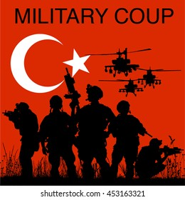 military coup in Turkey. social media and news concept