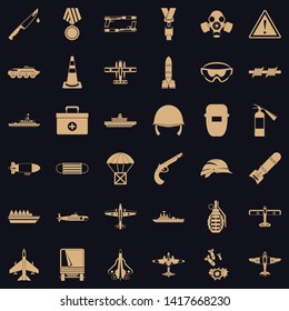 Military depot icons set. Simple set of 36 military depot vector icons for web for any design