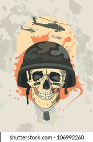 Military design template with human skull of a soldier