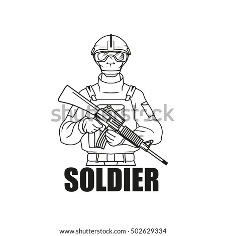 Military Drawing Vector Logo Icon Clipart Stock Vector Royalty Free
