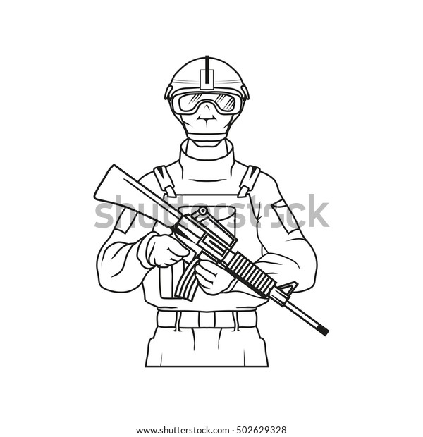 Military Drawing Vector Logo Icon Clipart Stock Vector (Royalty Free